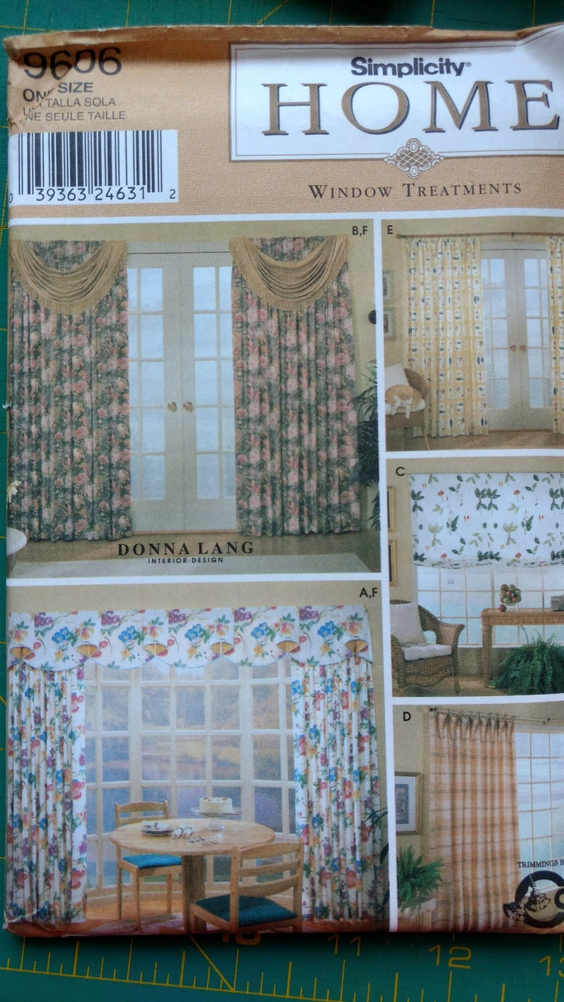 Simplicity sewing pattern 9606 window treatments home decor curtain panels valances shades full instructions