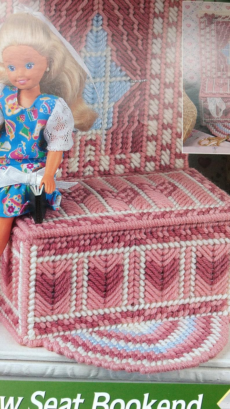 Fashion doll Annie/'s Attic plastic canvas window seat bookend