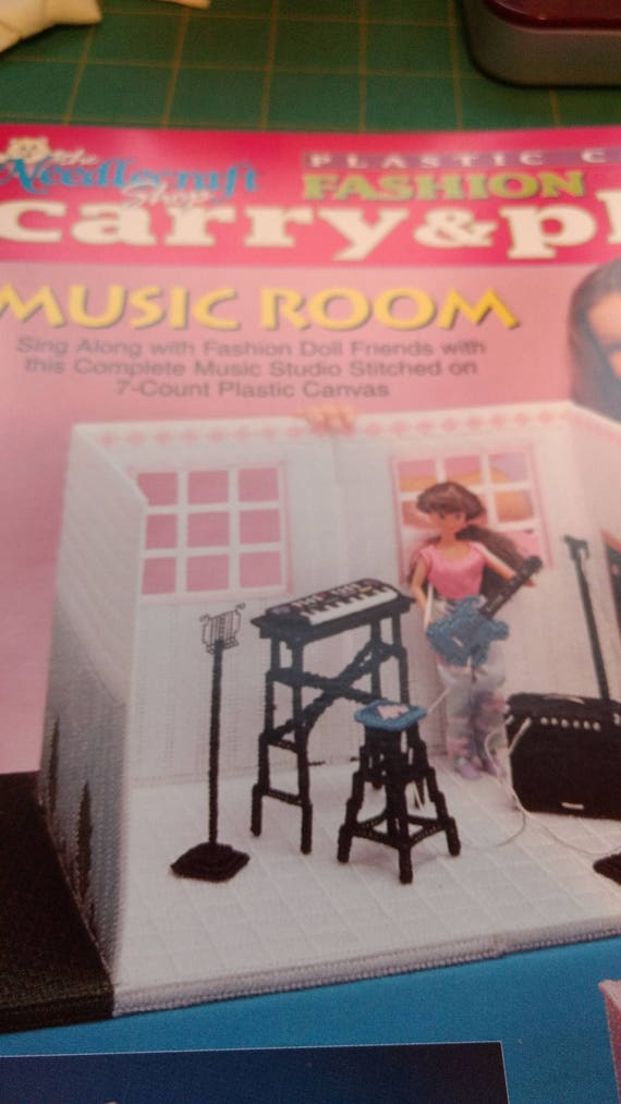 Music Room Carry /& Play for Barbie Doll Plastic Canvas PATTERN//INSTRUCTIONS