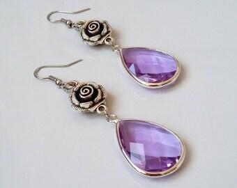 Elegant earrings, crystal earrings, lilac earrings, drop earring, pendant earrings, gift idea, gift for her, christmas gift