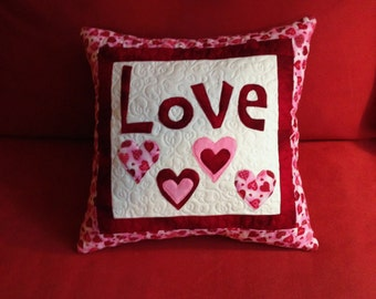 Quilted, Appliqued Love Pillow
