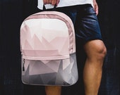 Geometric Bag - Pink and Gray Ombre Backpack - Modern Bag for Laptop -Backpack for Women - Unisex Book Bag -