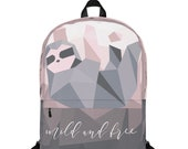 Geometric Sloth Backpack - Pink and Gray Ombre Bag - Modern Book Bag Mild and Free - Bag for Women - Cute Gift for Sloth and Animal Lovers