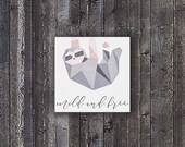 Geometric Sloth Canvas Print 16 x 16 - Cute Sloth Nursery Wall Art - Pink and Gray Ombre Home Decor - Baby Shower Gift for Animal Lovers
