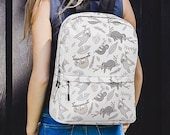 Cute Sloth Lover Backpack - Sloth Textile Pattern - Original Neutral Sloth Design -Gift for Animal Lovers