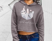 Geometric Sloth Crop Hoodie - Cute Sloth - Pink and Grey Sloth Top - Sloth Gifts - Mild and Free - Women's Sloth Shirt