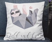 Sloth Pillow Cover 18x18 - Cute Geometric Sloth Throw Pillow - Pink and Gray Ombre Decorative - Accent Pillow 18 x 18 Gift for Animal Lovers
