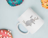 Funny Sloth Mug - Gift for Animal Lovers - Cute Sloth Cup - NOPE coffee mug - Quirky Adorable Original Sloth Design