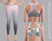 Premium Geometric Sloth Yoga Set - Leggings and Sports Bra Combo - Active Wear for Women - Sloth Bra for Animal Lovers - Women's Yoga Pants