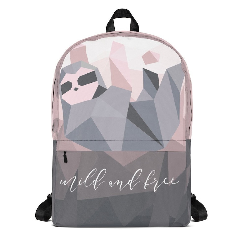 0bc8fa071bd2 Geometric Sloth Backpack - Pink and Gray Ombre Bag - Modern Book Bag Mild  and Free - Bag for Women - Cute Gift for Sloth and Animal Lovers