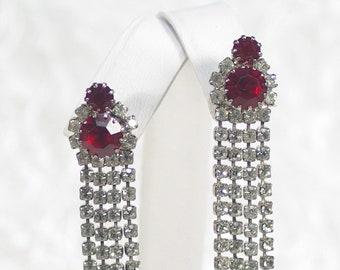 Red Crystal Wedding Earrings Red AB Statement Earrings Vintage Red Rhinestone Chandelier Earrings Couture Red Rhinestone Earring Under 30