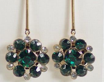 Emerald Rhinestone Dangle Earrings, Long Green Crystal Earrings, Emerald Rhinestone Wedding Earrings, Mother's Day Earrings Under 25