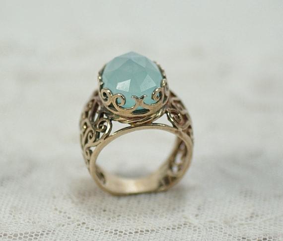 Vintage Chalcedony Gemstone Ring, Vintage Sterling