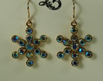 Aurora Borealis Rhinestone Snowflake Earring, Bridal Bridesmaid Snowflake Earrings, Winter Wedding Earrings,  AB Snowflake Earrings Under 20