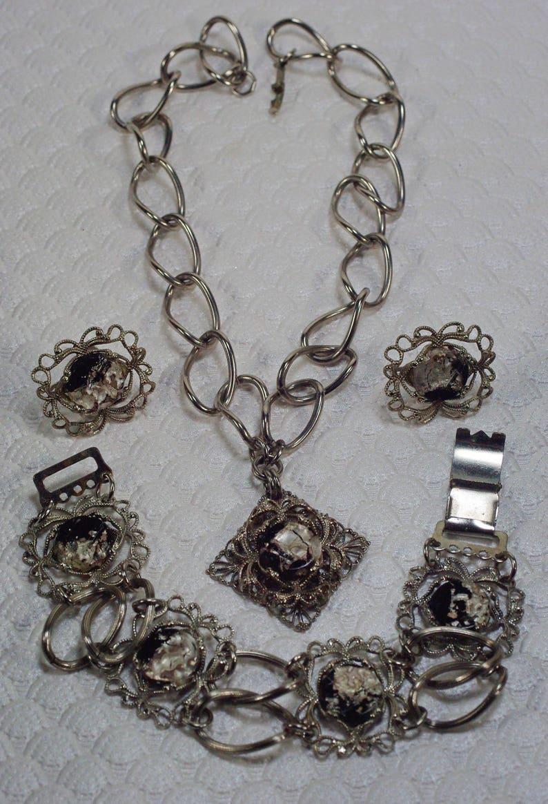 Full Parure Set Chunky Filigree Jewelry Vintage Foil Glass Necklace Set Black Silver Lampwork Glass Necklace Set Under 35