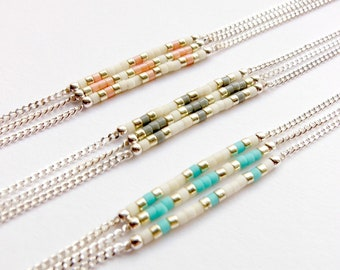 "Seed Bead bracelet 3 strand - Delica Bead Bracelet - Turquoise beaded bracelet - Triple Strand Bracelet 3 - Sterling Silver bracelet / ""Ios"""