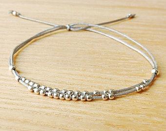 """Thread Bracelet, Nylon cord bracelet, Sterling Silver Bead Bracelet, Slide Bracelet, Wish Bracelet, Thread Wrap Bracelet / """"Fleur de givre"""""""