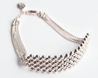"""Sterling Silver Cuff Bracelets for Women, Beaded cuff Bracelets, Bridal cuff bracelet, Flat bead bracelet, Custom size bracelet / """"Niki"""""""