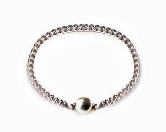 """Chain Ring - Silver Stack Ring - Dainty Silver Ring with tiny balls for woman """"June"""""""