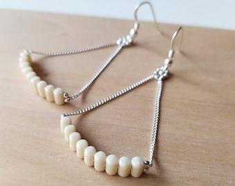 """Sterling Silver Earrings Dangle - Green Beaded Earrings - Big colorful earrings - Turquoise Dangle Earrings - Long chain Earrings / """"Marmol"""""""