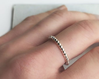 """Simple Silver Rings, Silver Ball Ring, Silver Bead Ring, Sterling Silver Ring, Delicate Stacking Ring Dot, Bubble Beaded Ring / """"Aro II"""""""
