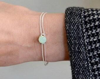 """Green Opal bracelet Silver for Women - Sterling silver bracelet - opal bracelets for women - Silver chain double bracelet / """"Cab"""""""