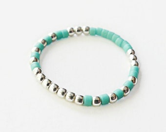"""Turquoise Ring Silver - Beaded Ring - Silver Bead Ring - 925 Silver ring - Ethnic Ring - Multicolor Ring - silver ball bead ring / """"Native"""""""