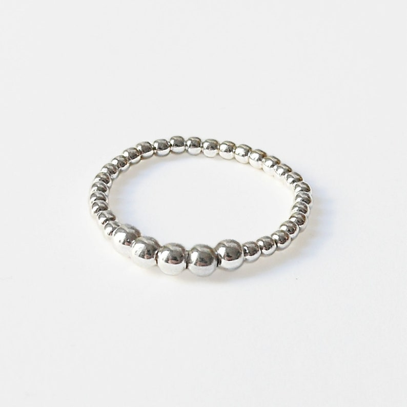 Silver stacking ring  Sterling silver ring Dainty  Beaded image 0