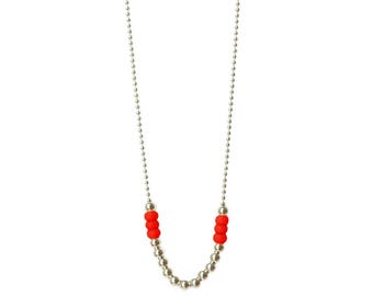"Long necklace - Red sautoir - Silver necklace - long necklaces for women - silver chain necklace - 30 inch necklace - Red - ""Goa"""