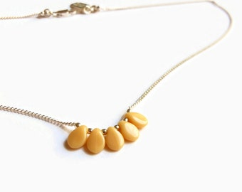 """Yellow Necklace for Women - Yellow Choker Necklace - Drop Necklace Silver - Yellow Flower necklace - Yellow Rose necklace, 5 colors / """"Hana"""""""