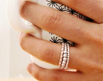 """3 Silver Rings For Women, Silver Stacking Ring Set, Boho Ring Set, Pinky ring Women, Stacking Rings Set Ball Ring / """"Native & Aro"""""""