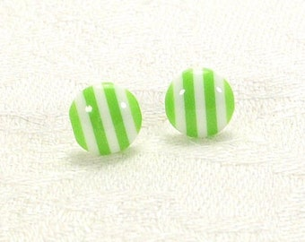 Lime Green And White Striped Earrings, Bi-colour Stud Earrings, Two-Tone Earrings With Silver-Plated Posts