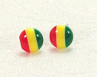 Red Yellow Green Stud Earrings, Striped Earrings, Colourful Earrings With Silver-Plated Posts