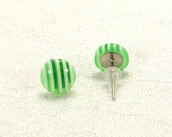 Green And White Striped Earrings, Two-Tone Earrings, Bi-colour Stud Earrings With Silver-Plated Posts