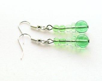 Green Beaded Earrings, Green Glass Earrings, Classic Earrings On Silver-Plated Ear-Wires