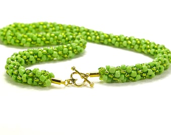 Lime Green Beaded Kumihimo Necklace, Lime Green Necklace With Gold-Plated Clasp