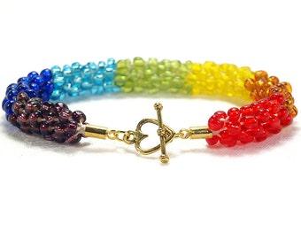 Rainbow Beaded Bracelet, LGBTQ Pride Kumihimo Bracelet, Rainbow Jewellery, Lesbian Girlfriend Gift, Dare To Be Different, Queer Present