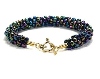 Purple Iris Beaded Bracelet, Kumihimo Bracelet, With Gold-Plated Toggle Clasp
