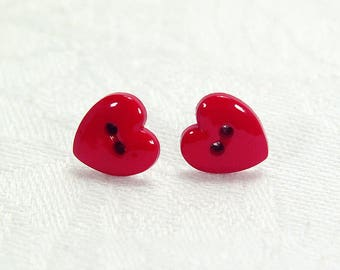 Red Heart Button Stud Earrings, Romantic Gift For Girlfriend, Birthday Present Daughter, Anniversary Token Wife, Show Your Love, 10mm Studs