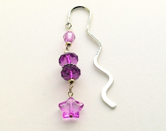 Silver-Tone Bookmark With Purple Acrylic Beads And Lilac Star Charm, Page-Keeper, Gift For Bookworm