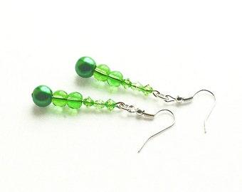 Irish Green Faux Pearl Earrings, Green Beaded Earrings On Silver-Plated Ear-Wires