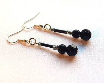 Black beaded earrings, black glass and acrylic bead earrings, with silver-plated ear-wires
