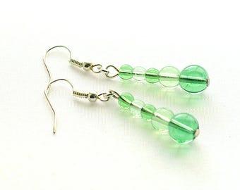 Green Glass Earrings, Green Beaded Earrings, Green Linear Earrings On Silver-Plated Ear-Wires
