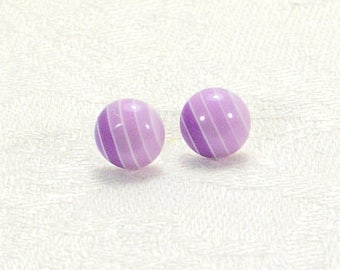 Lilac Striped Stud Earrings, Light Purple Earrings, Small Stud Earrings With Silver-Plated Posts
