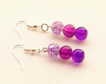 Purple Ombre Earrings, Purple Crackle Glass Earrings, Purple Magenta And Lilac Earrings On Silver-Plated Ear-Wires