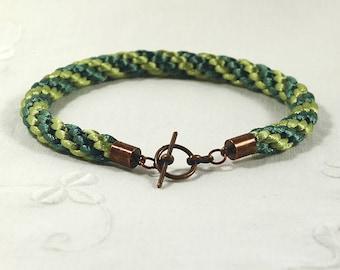 Men's Kumihimo Bracelet, Unisex Bracelet, Green Braided Satin Bracelet With Red Copper Toggle Clasp