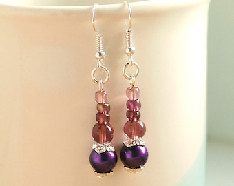 Purple And Plum Earrings, Purple Faux Pearl And Plum Glass Earrings on Silver-Plated Ear-Wires