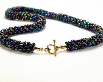 Purple Iris Beaded Kumihimo Necklace With Gold-Plated Heart Toggle Clasp