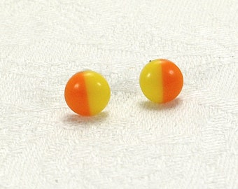 Yellow And Orange Earrings, Bi-colour Stud Earrings, Gift For Sister, Birthday Present Cousin, Summer Jewellery, Brighten Up Your Day
