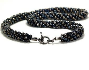 Black And Gunmetal Beaded Kumihimo Necklace With Gunmetal Toggle Clasp